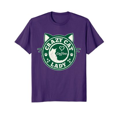 Funny Cat T-Shirt | Crazy Cat Lady and coffee