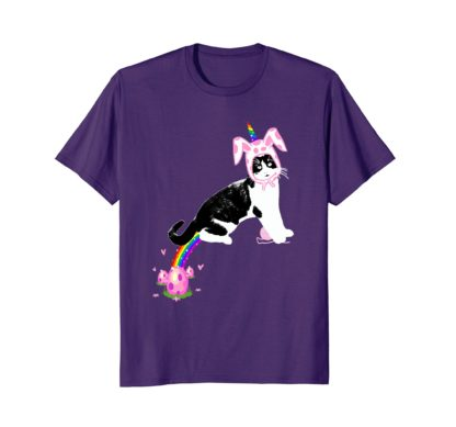 Funny Cat Easter T Shirt Gift | Cat Pooping Rainbow Eggs
