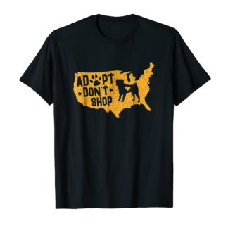 Rescue Dog Shirt With Pawprint Map, Adopt Don't Shop T-Shirt